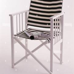 Striped Directors Chairs White Swivel Desk Director S Chair With Black Canvas Back And Seat Stock