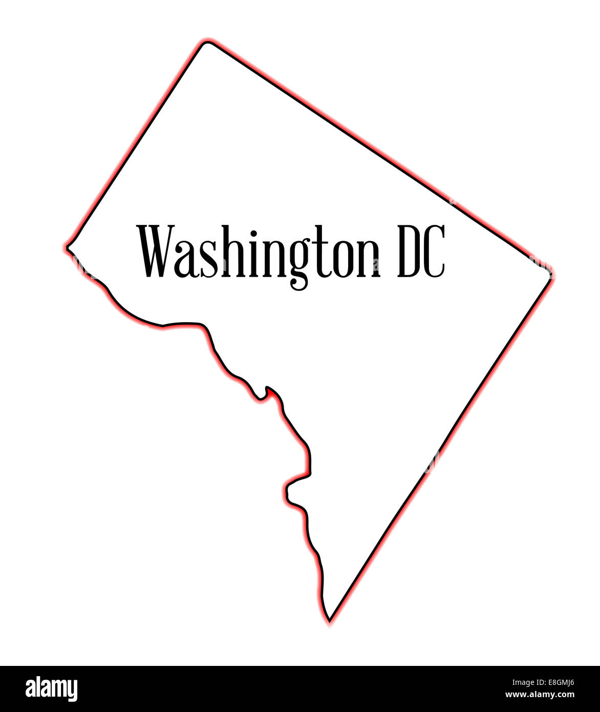 Outline Map Of The State Of Washington Dc Over A White