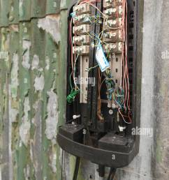 lack of communication or network a damaged phone junction box broken open exposing bare wires connections sabotaged [ 865 x 1390 Pixel ]
