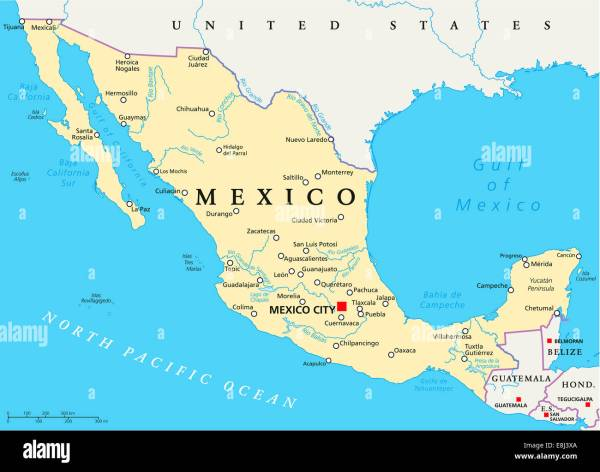Mexico Political Map with capital Mexico City national