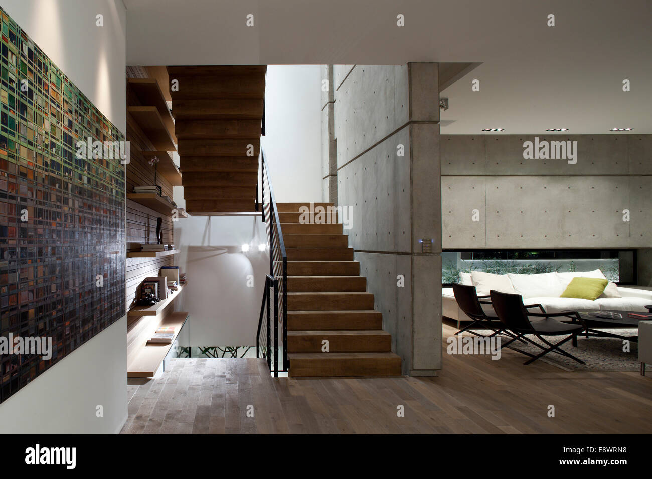 open plan staircase in living room ideas for decorating a long wall and d house israel middle east