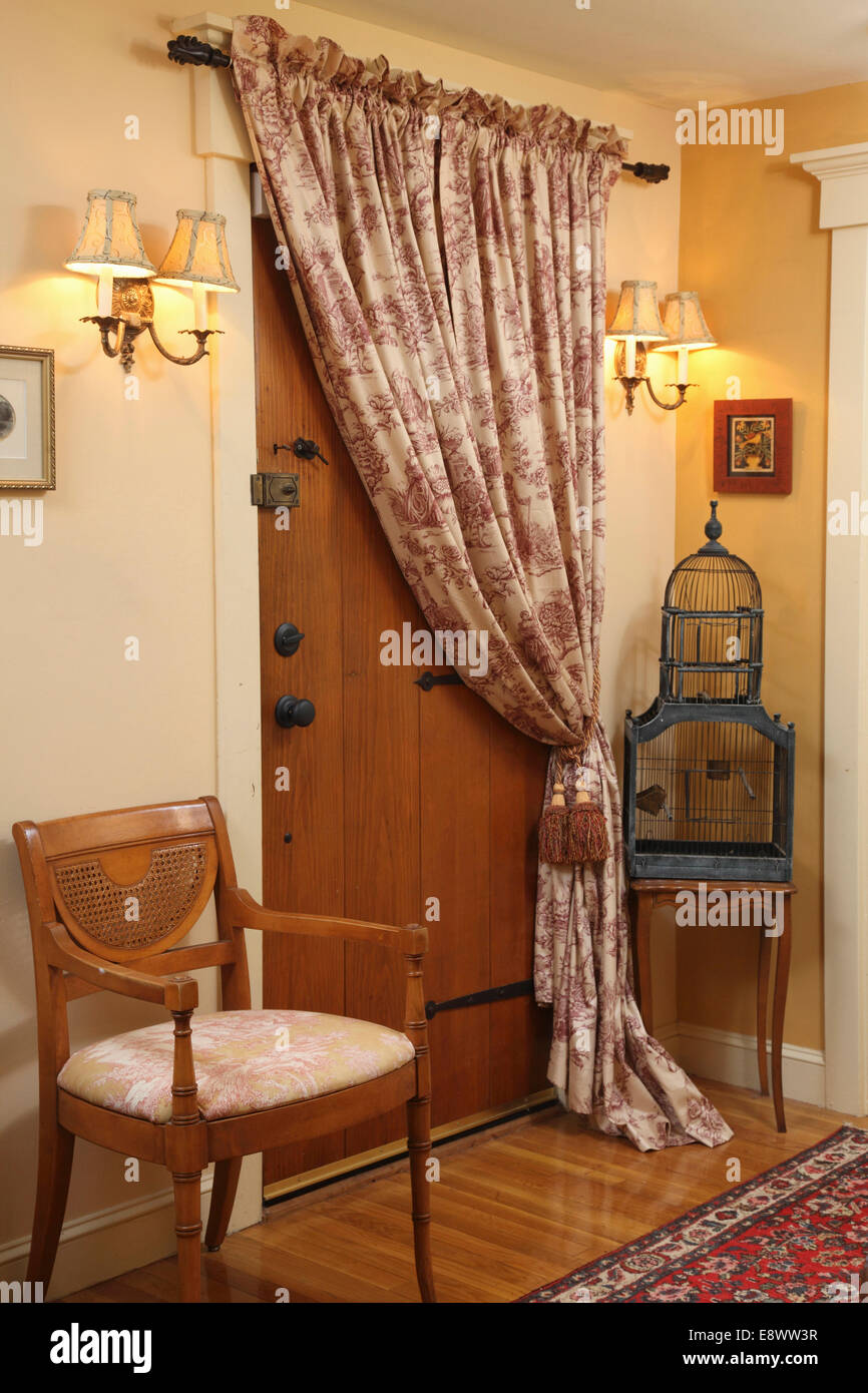 https www alamy com stock photo wooden front door with curtain over it and wall sconces in usa home 74327227 html