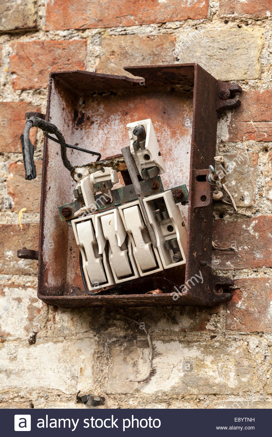 medium resolution of old fashioned and broken fuse box stock image