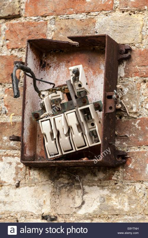 small resolution of old fashioned and broken fuse box stock image
