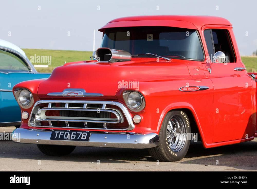 medium resolution of 1957 chevy pickup truck 350 chevrolet stock image