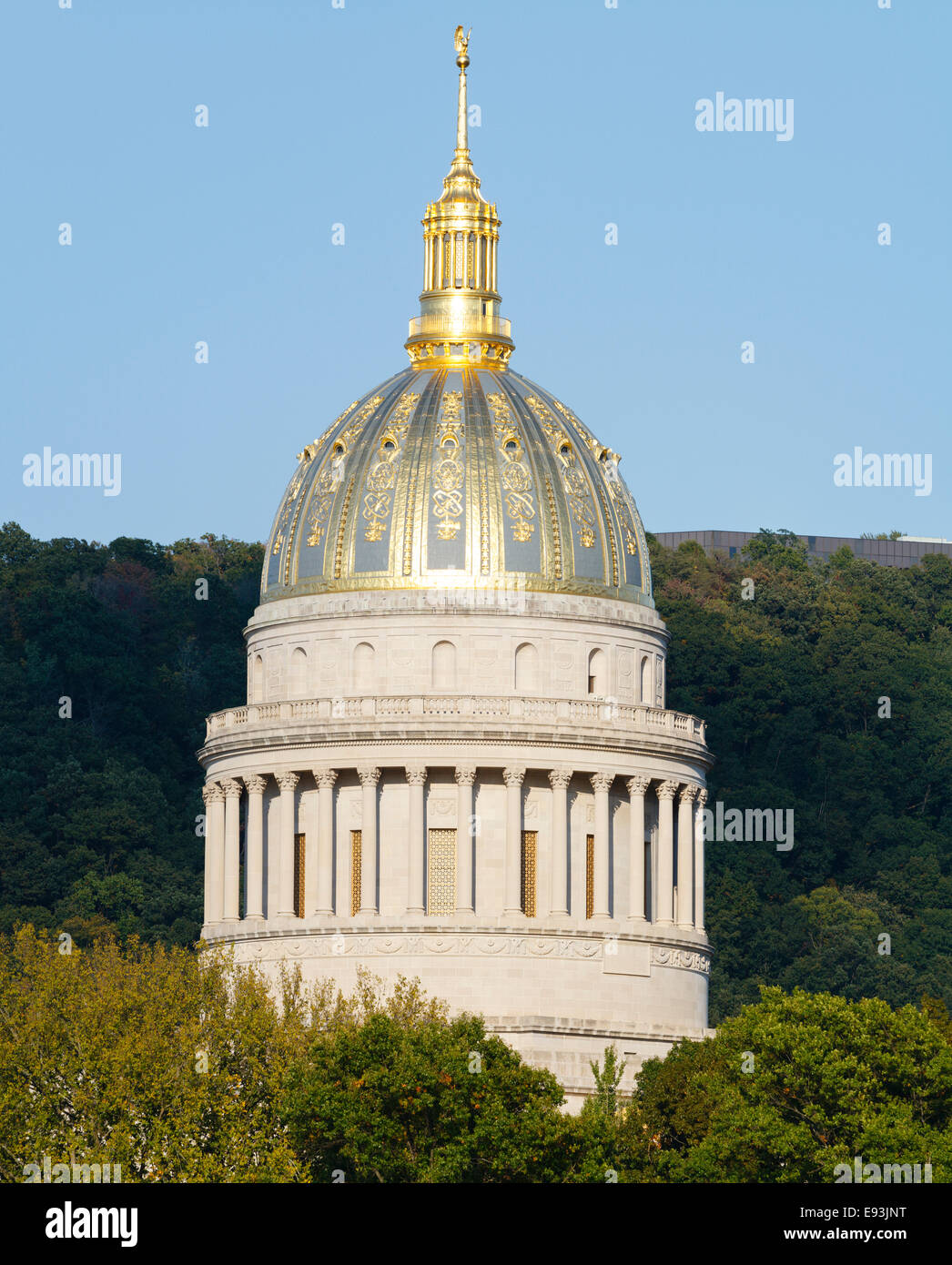 Golden West Virginia State Capital Dome Towering Above The