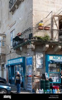 Shopping Street In Valletta Malta Stock &