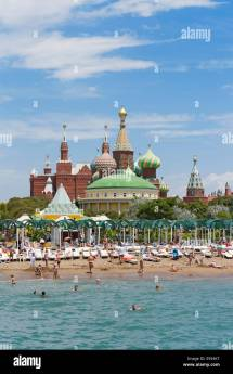 Beach With Kremlin Palace Hotel And Replica