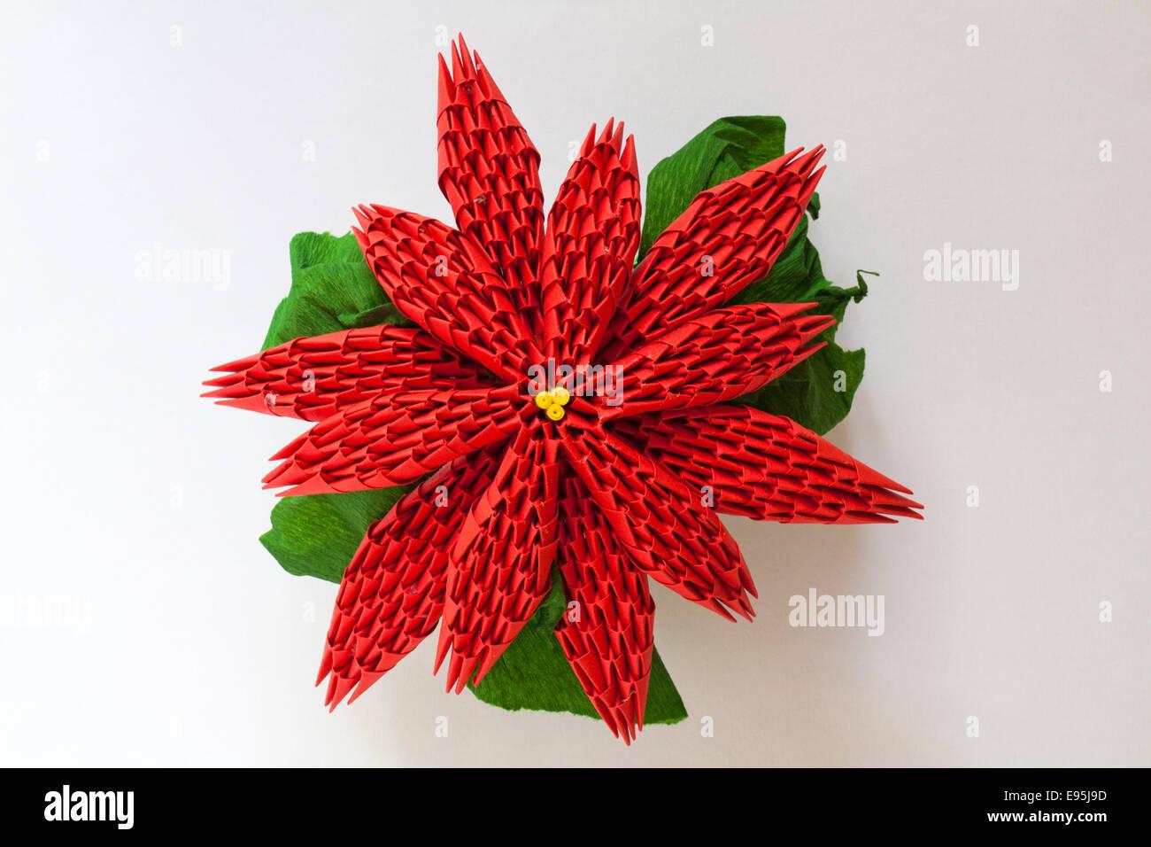 christmas origami flower diagram shower drain vent poinsettia isolated on white