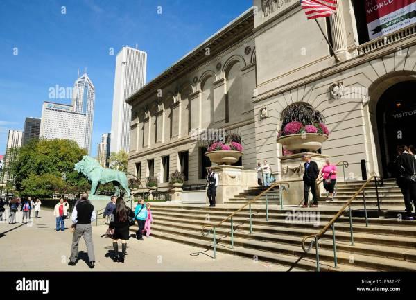 Chicago Art Institute Lions Stock & - Alamy