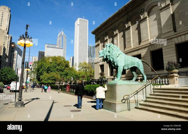 Chicago Art Institute Lions Stock & - Alamy