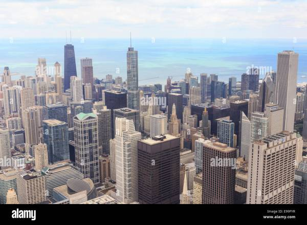 Aerial View Of Downtown Chicago Cityscape Willis