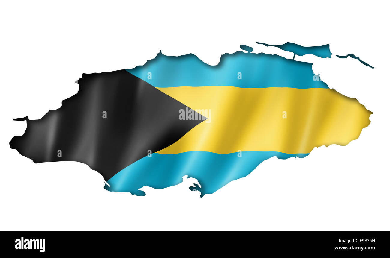 Bahamas Flag Map Three Dimensional Render Isolated On