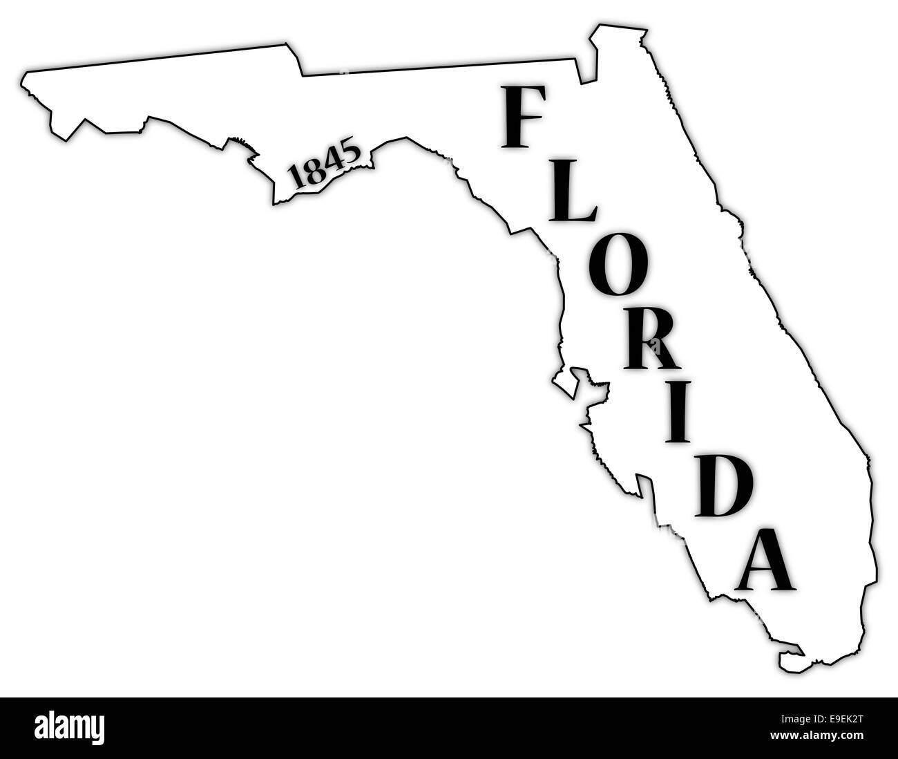 A Florida State Outline With The Date Of Statehood