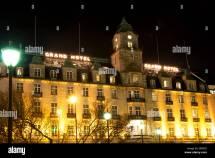 Grand Hotel In Oslo Norway Winter Night Stock