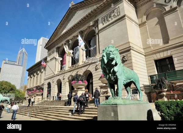 Entrance Art Institute Chicago Museum Stock &