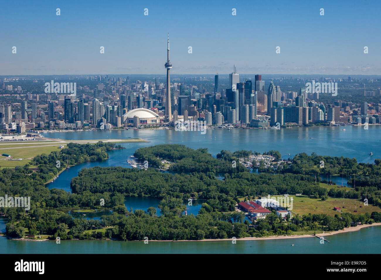 Aerial View Of Toronto Skyline With Islands In The