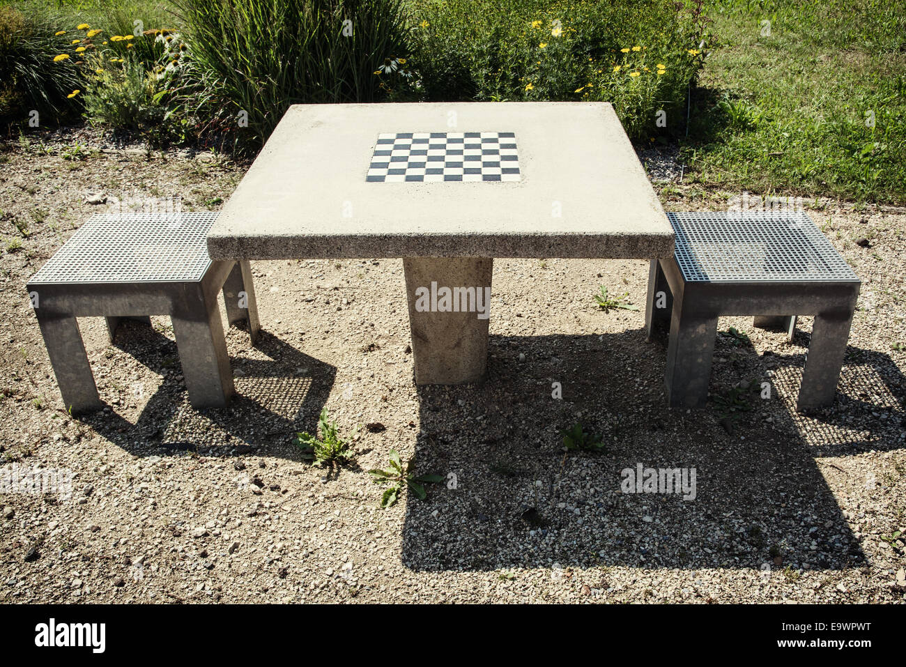 chess table and chairs red chair covers wedding in outdoor stock photo 74940148 alamy