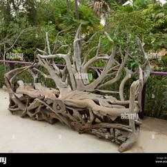 Unusual Garden Chair Baby High 3 Months Seating Shrubs Stock Photos Unique Artistic Wooden Bench Created From Huge Contorted Root Of Ancient Tree Against