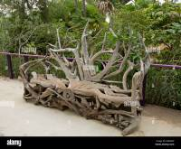 Unique & artistic wooden garden bench created from huge ...