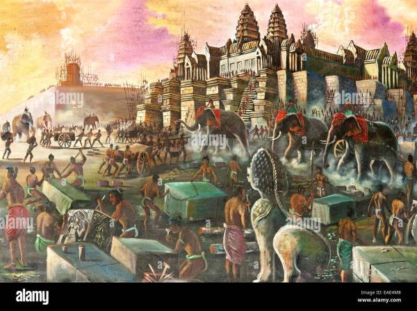 Painting Depicting Historical Account Of Construction Angkor Stock 75299064 - Alamy