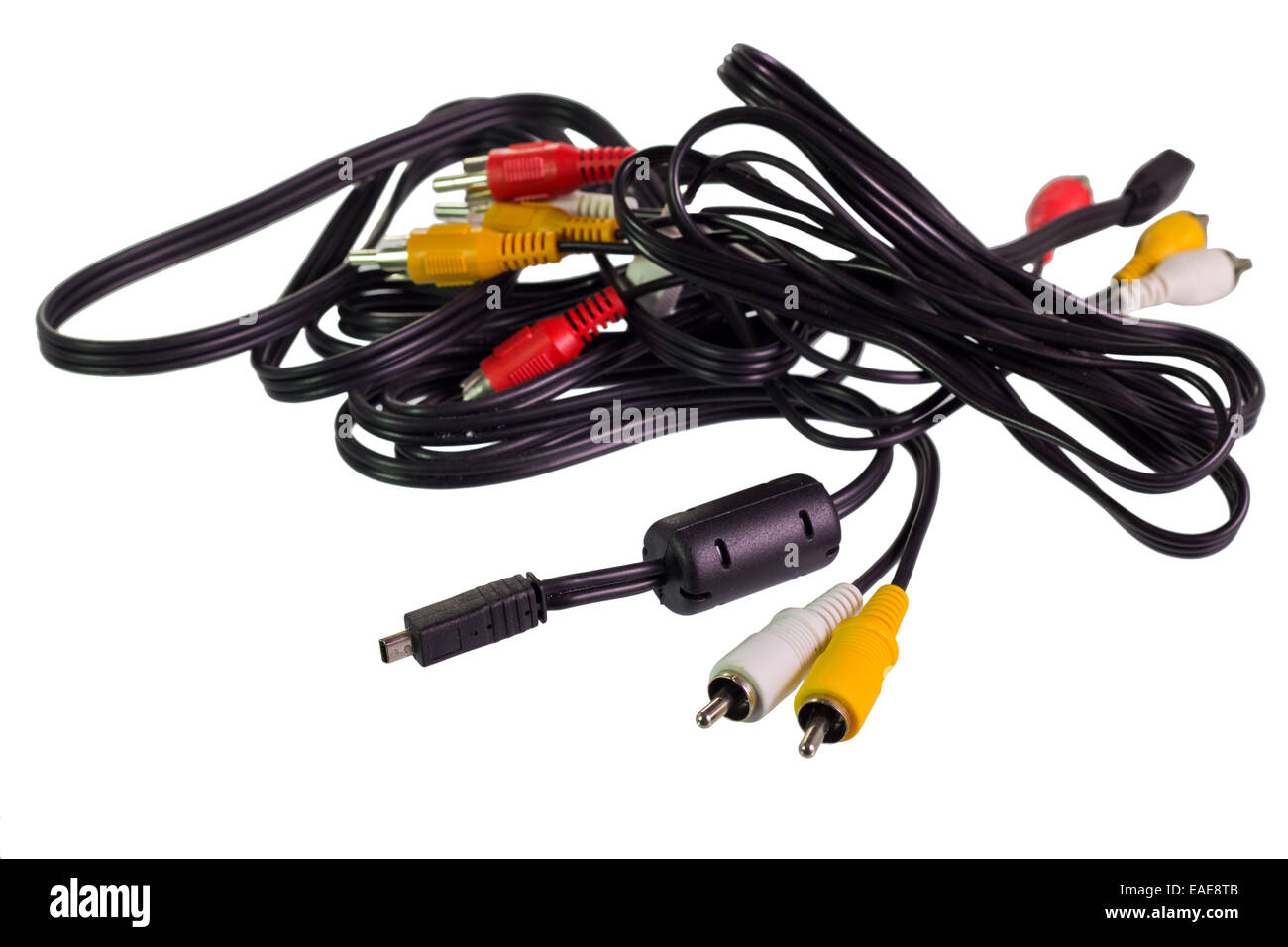 hight resolution of stereo speaker wire and cable to mini jack mono plug on isolated white background