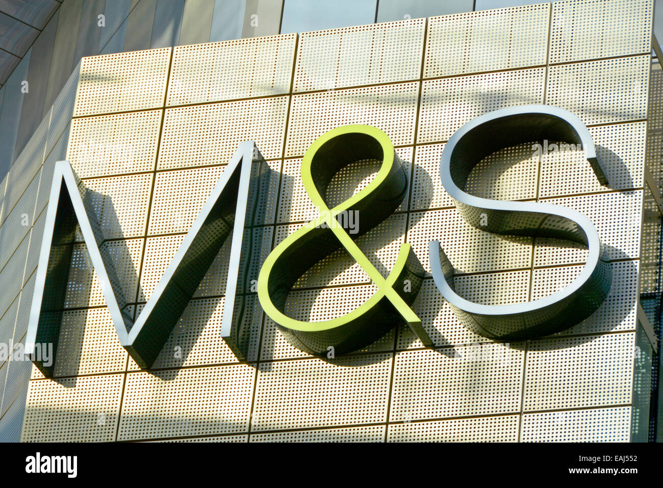 sofaworks westfield stratford red sofa slipcovers clearance city branding sign stock photos images marks and spencer store on exterior wall of a shopping mall image