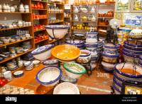 Display of tiles and pottery inside Santa Ana ceramic tile ...