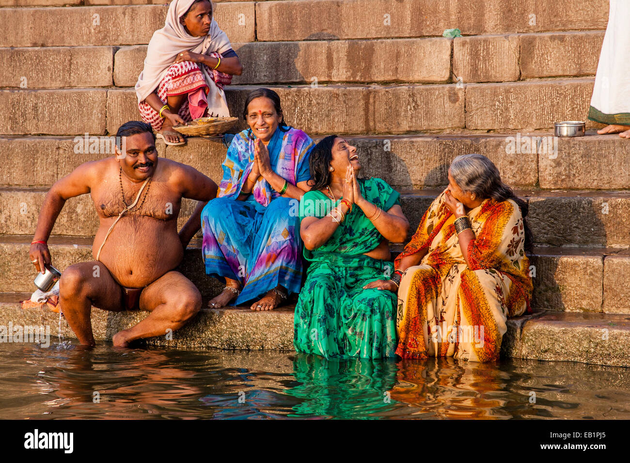 Hindu Pilgrims Praying and Bathing In The Holy River Ganges Stock Photo 75642397  Alamy