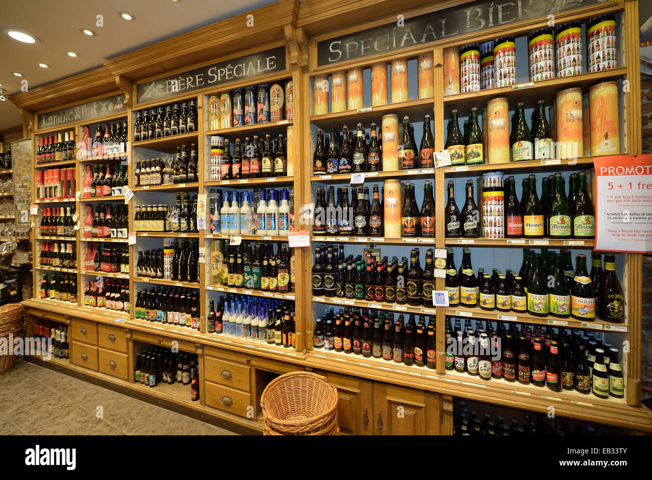 Shelf With Different Types Of Beer In A Liquor Store