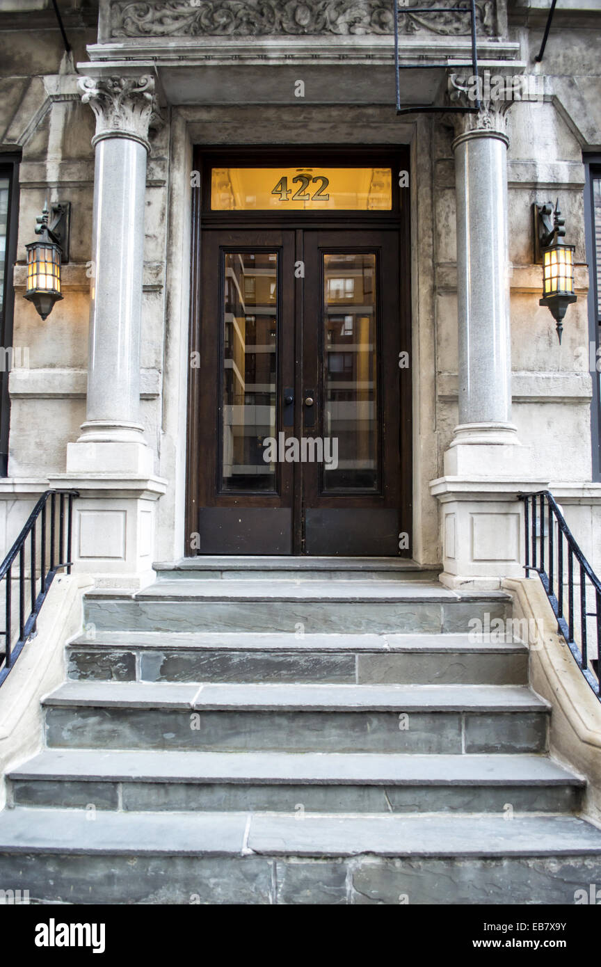 Front door of an apartment building Sutton Place Midtown