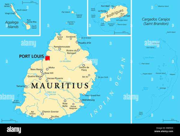 Mauritius Political Map with capital Port Louis the islands Stock Photo Royalty Free