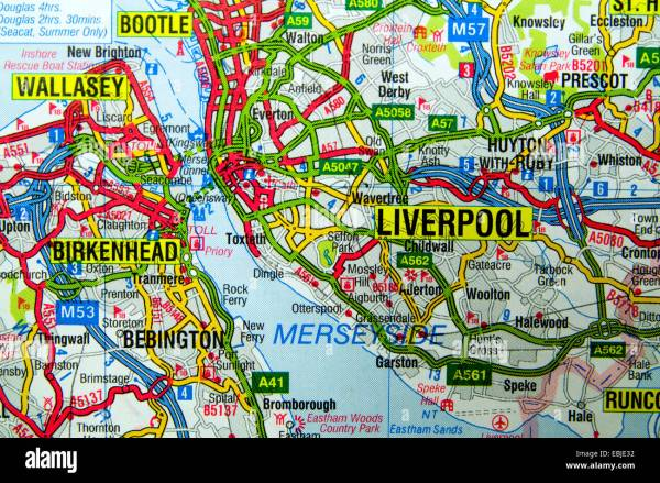 Road Map of Liverpool England Stock Photo 76008886 Alamy