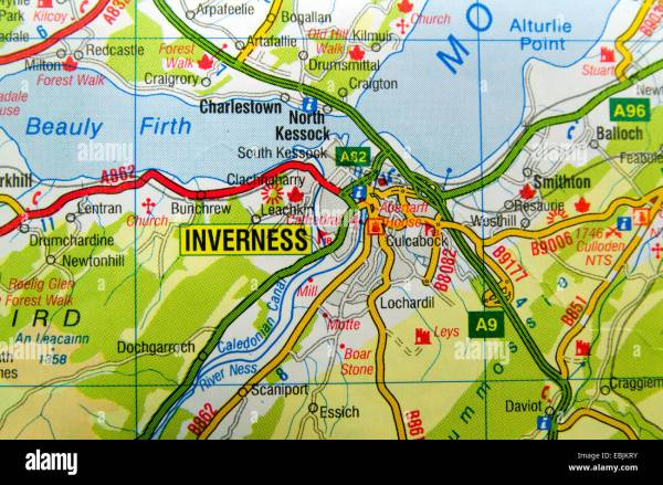Road Map of Inverness Scotland Stock Photo 76013391 Alamy