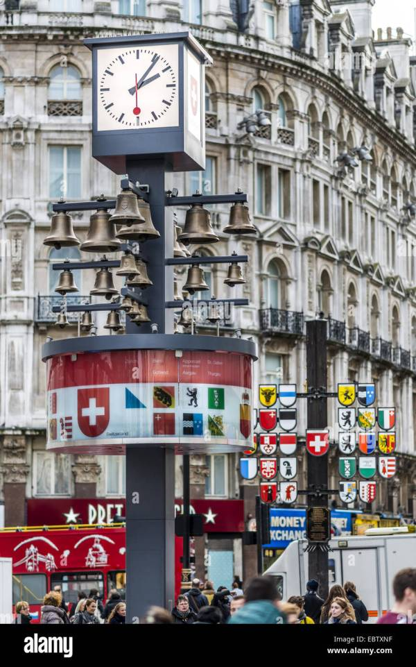 Swiss Glockenspiel In Leicester Square London Originally Housed Stock Royalty Free