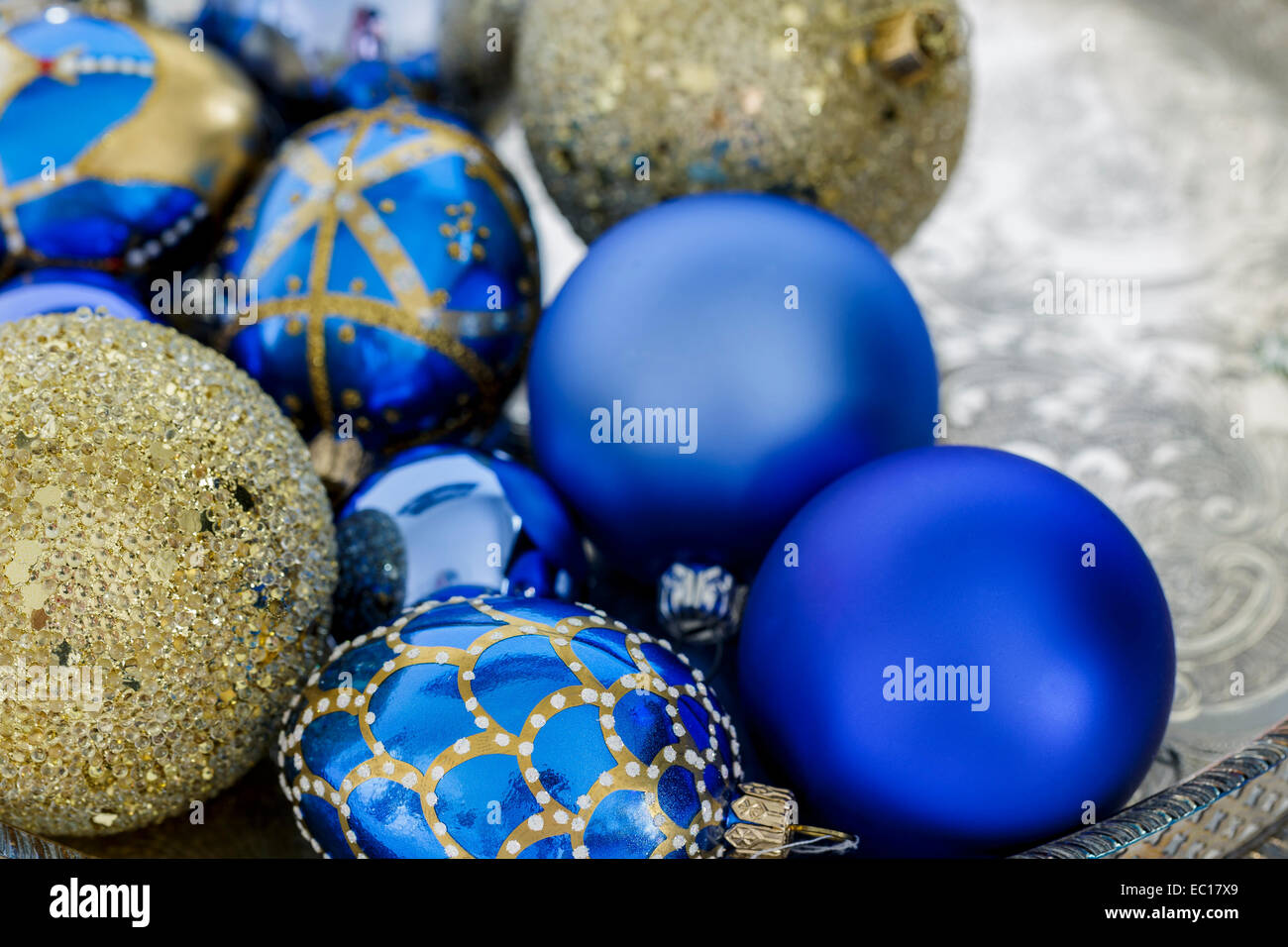 Blue And Gold Christmas Decorations On A Silver Tray Stock Photo Alamy