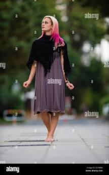 Young Woman Teenage Girl Modeling Walking Barefoot