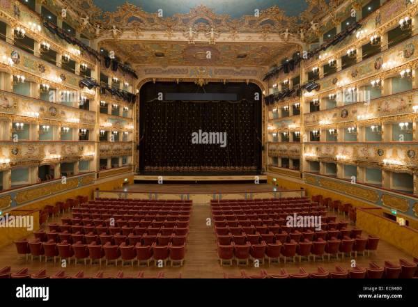 interior of the Teatro La Fenice opera house Venice