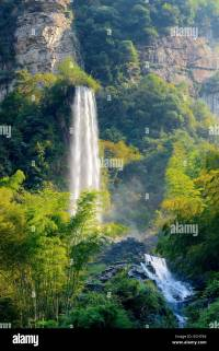Large waterfall on Baofeng Lake, UNESCO World Heritage ...