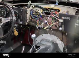 The dashboard wiring of a Jaguar E Type V12 at the repair shop of Stock Photo: 76657528  Alamy