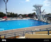 High Diving Board Public Swimming Pool Stock