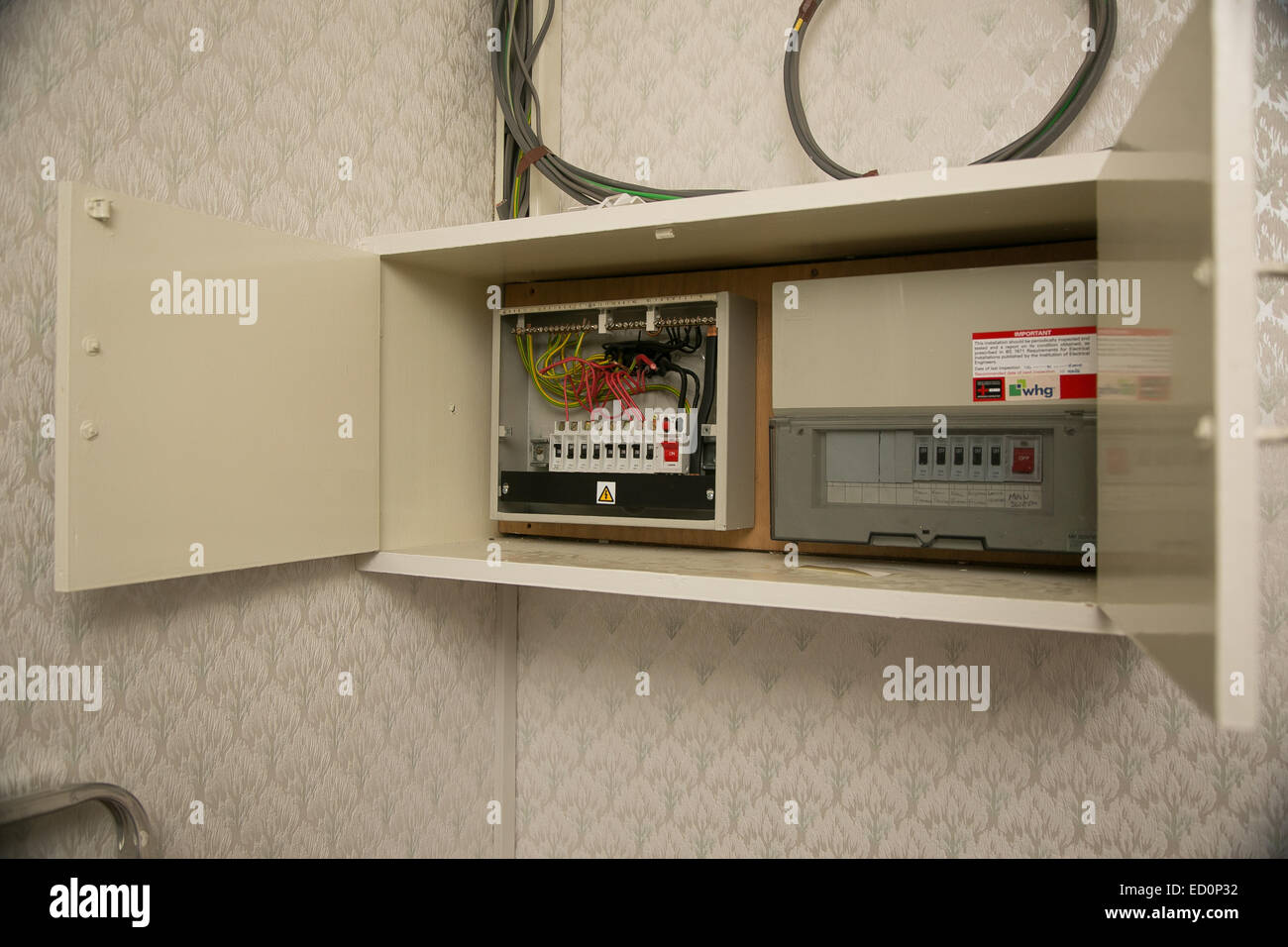 hight resolution of fuse board being rewired stock image