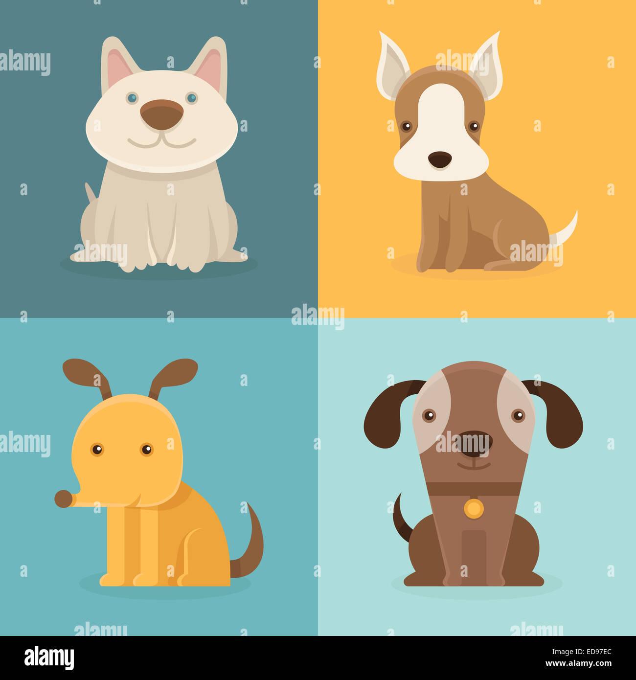set of cartoon dogs