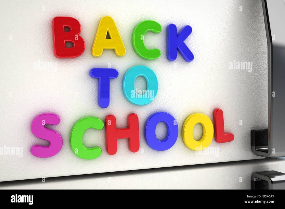 medium resolution of back to school written on a refrigerator door with magnet letters stock image