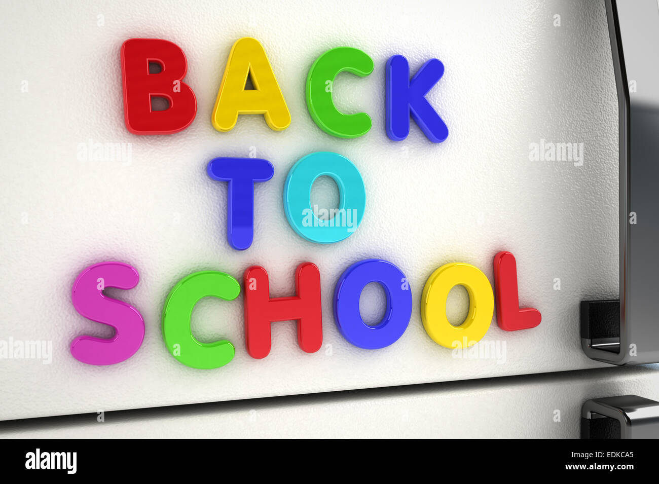 hight resolution of back to school written on a refrigerator door with magnet letters stock image