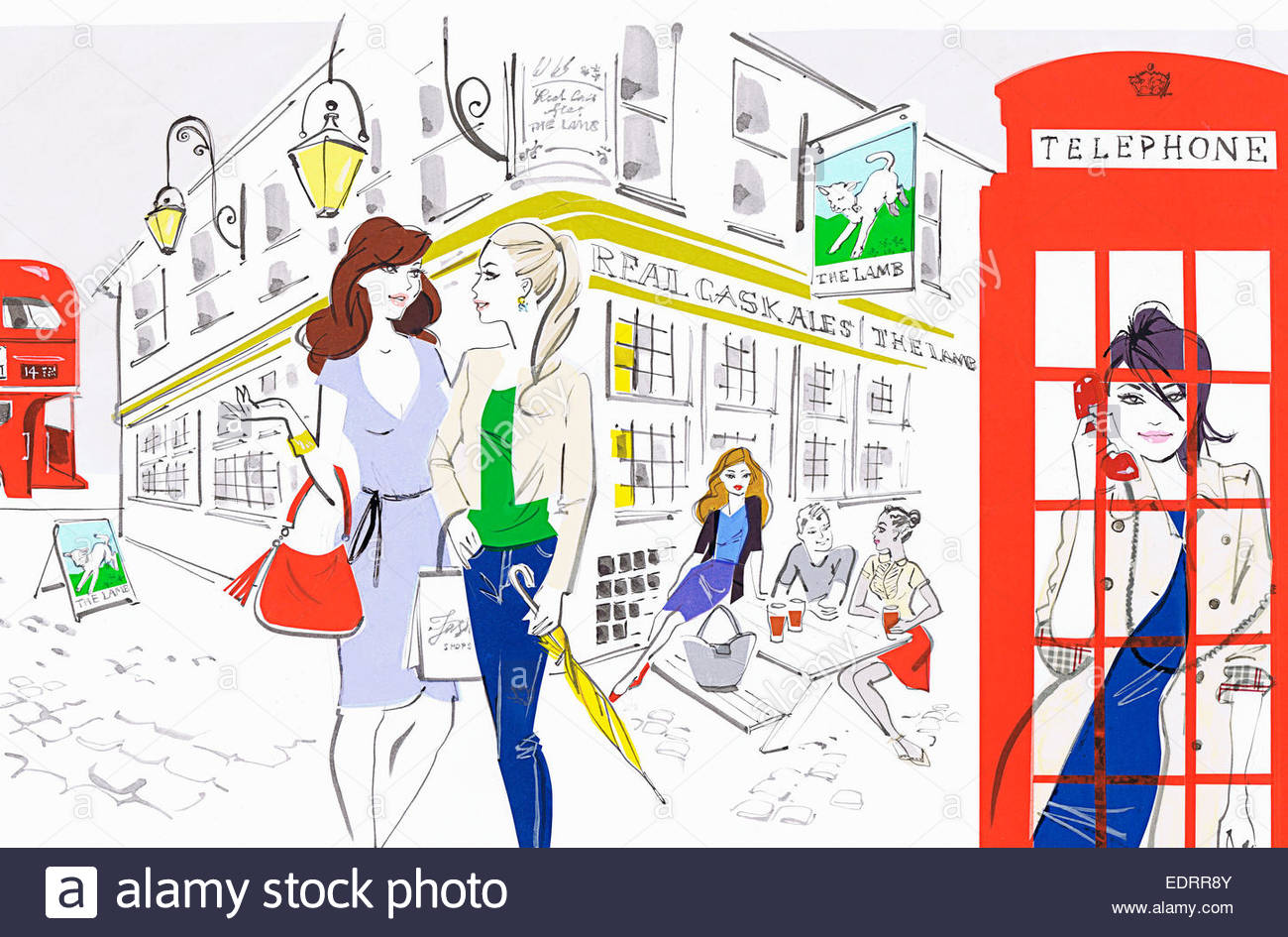hight resolution of people enjoying city life outside of london pub and using red telephone box stock image