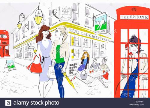 small resolution of people enjoying city life outside of london pub and using red telephone box stock image