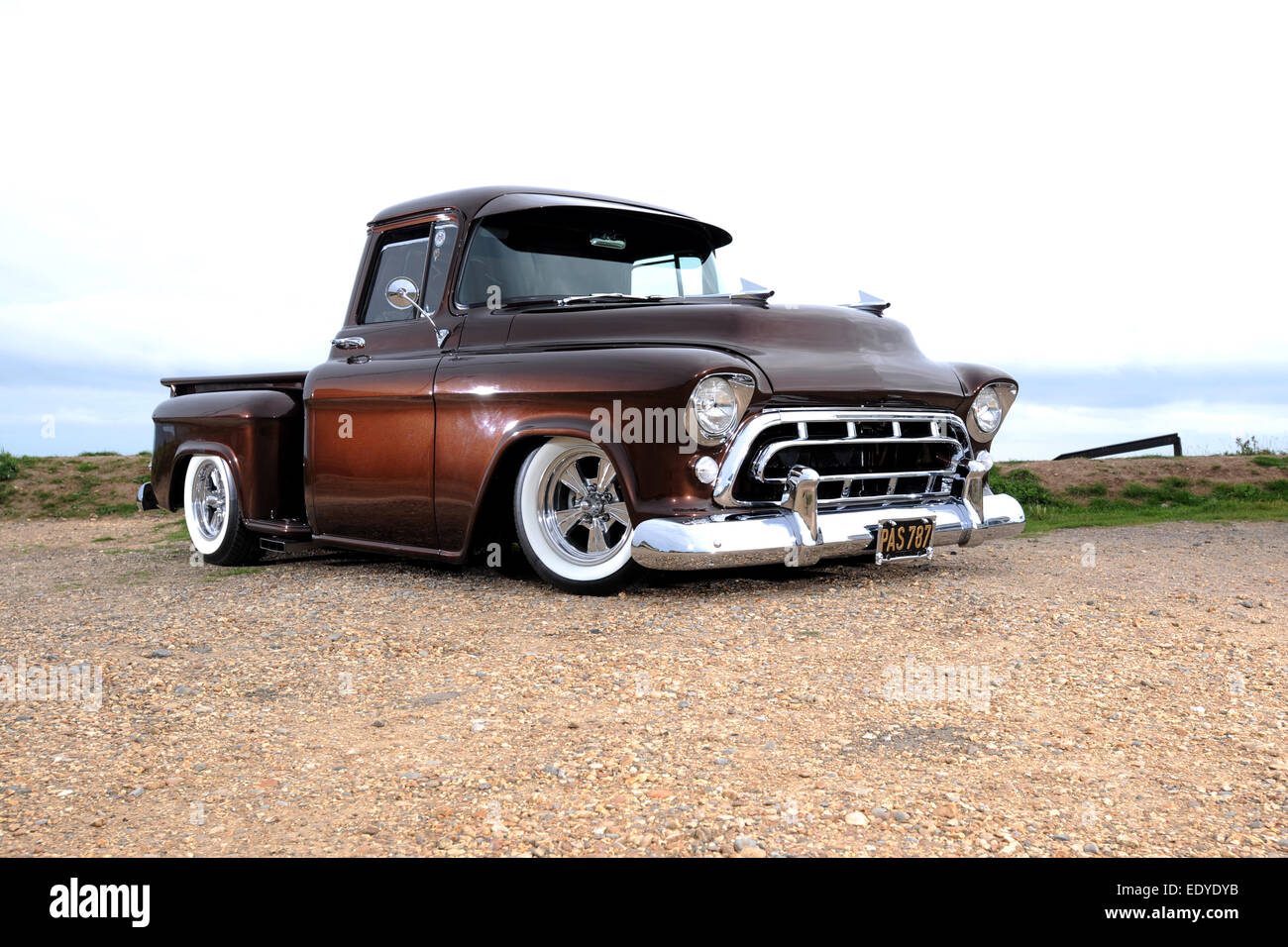 hight resolution of modified 1957 chevy 3100 step side pickup truck