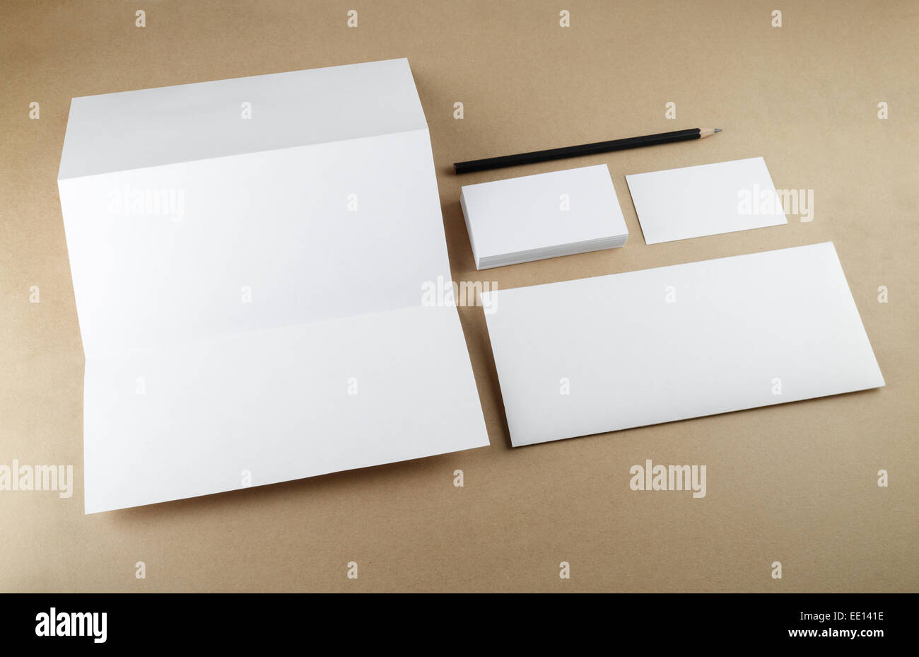 Blank stationery set on a table. Template for branding identity ...