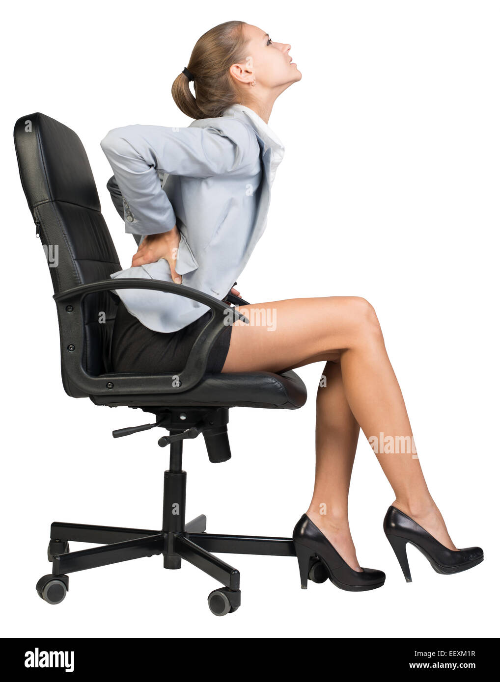 desk chair for lower back pain cb2 leather businesswoman with from sitting on office